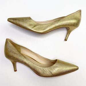 Nine West Gold Leather Pointed Toe Heel Pumps 10.5
